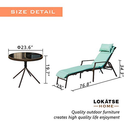 Outdoor Patio Chaise Lounges Chairs Set Adjustable with Folding Table