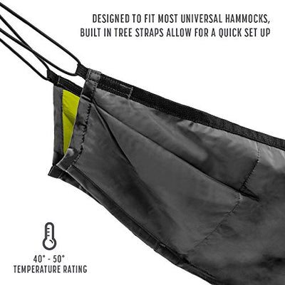 Avalanche Hammock or Hammock Underquilt for Camping, Outdoor Sleeping - Includes Tree Straps, Carry Bag (Underquilt - Green)