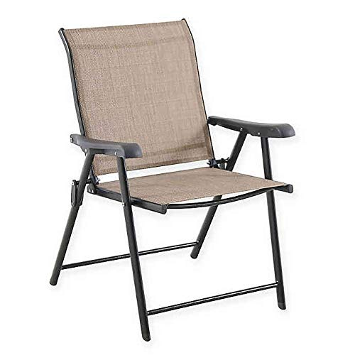 Never Rust Outdoor Aluminum Folding Sling Chair in Brown