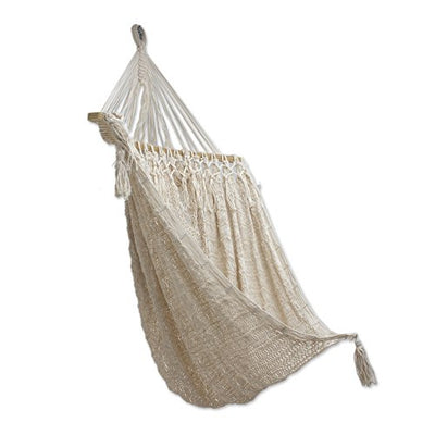 NOVICA Sustainable Beige Cotton Swing Hammock 'Sandy Beach'