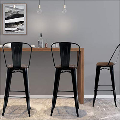 30'' High Back Bar Stools with Wood Seat