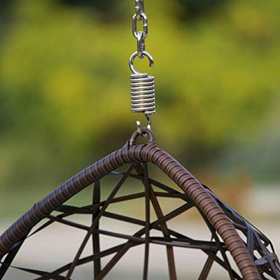 Outdoor Wicker Tear Drop Hanging Chair: Brown