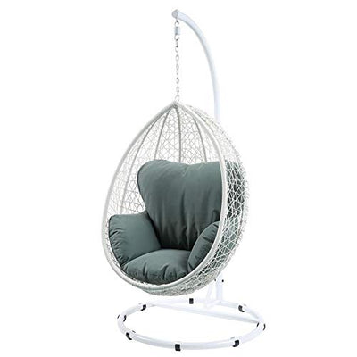 Acme Simona Patio Swing Chair in Green and White