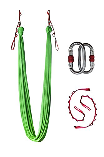Dasking Dasking 10 Yards(10m/set) Elastic Pilates Yoga Aerial Yoga Hammock includeall Hardware, Fabric & Guide (Light Green)