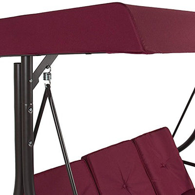 Premium Quality Patio Swing Chair Convertible for 3 Person with Canopy-red