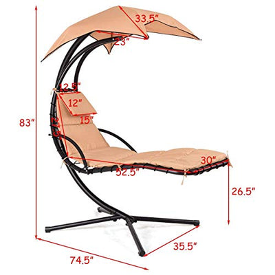 Outdoor Hanging Chaise Lounger Free Standing Hammock Yard Chair