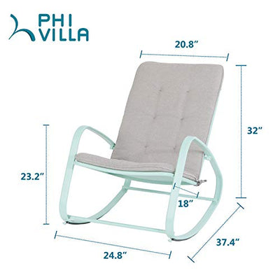 Outdoor Patio Rocking Chair Padded Steel Rocker Chairs