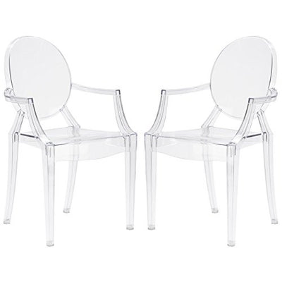Poly and Bark Burton Arm Plastic Dining and Patio Ghost Chair