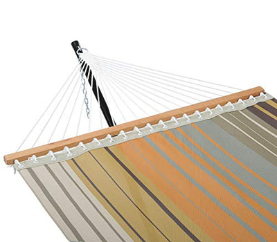 Patio Watcher 14 FT Quick Dry Hammock with Double Size Solid Wood Spreader Bar Outdoor Patio Yard Poolside Hammock with Chains, Waterproof and UV Resistance, 2 Person 450 Pound Capacity