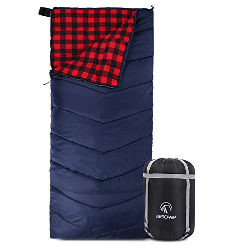 REDCAMP Cotton Flannel Sleeping Bag for Adults, XL 32/41/50F Comfortable, Envelope Sleeping Bag with Compression Sack, Red Plaid 2lbs(79