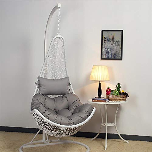 White Hanging Relax Moon Chair with Stand and Cushion