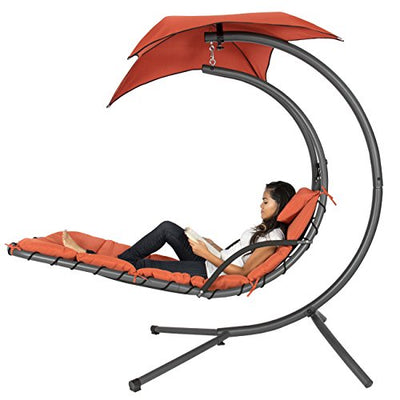 Hanging Curved Steel Chaise Lounge Chair Swing w/Built-in Pillow