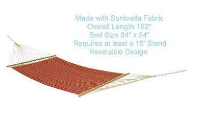 Sunbrella Quilted Reversible Outdoor Patio Garden Hammock