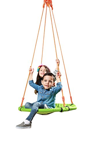 Spinner Saucer Kids Tree Swing Set: Green