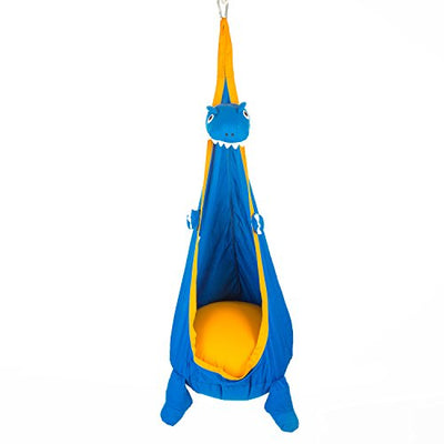 Dinosaur Child Hammock Pod Swing Chair Nook Animal Tent, 100% Cotton - Kids Outdoor Swing Cloth Hanging Seat - Hammock Nest Outdoor and Indoor Swing Chair – Great For Children (Blue)