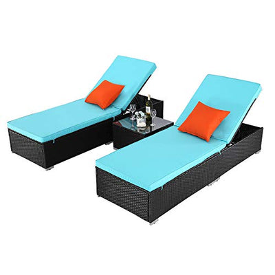 Wicker Pool Porch Lounge Chair Set with Coffee Table