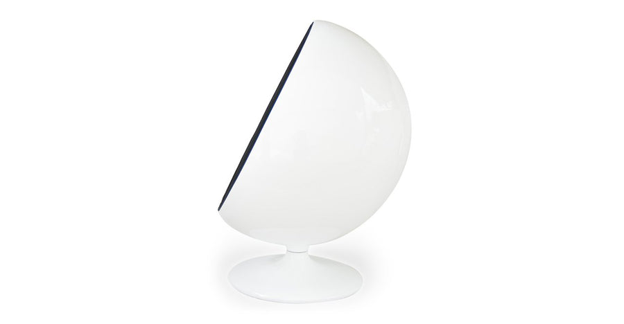 Kardiel Modern Ball Chair, White/Black Leatherette