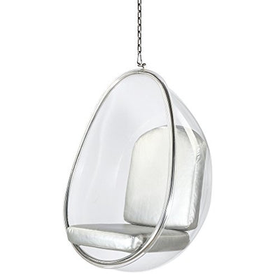 Modern Contemporary Accent Hanging Swing Chair- Silver