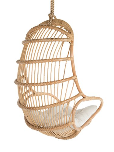 Kouboo Hanging Rattan Swing Chair with Seat Cushion, Natural Color