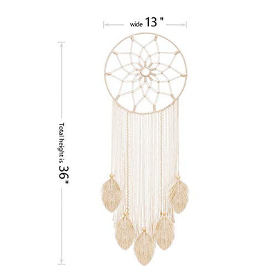 Mkono Macrame Dream Catcher Woven Feather Wall Hanging Handmade Dreamcatcher Boho Tassels Decoration Home Decor, 36 x 13 inches