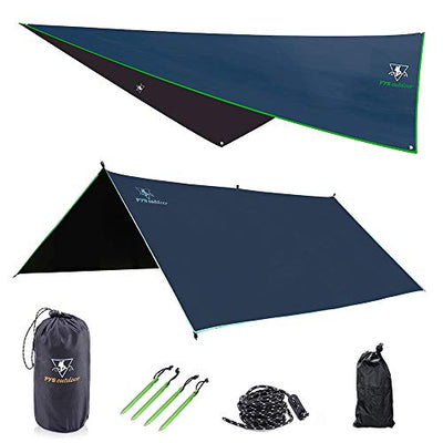 pys Hammock Rain Fly - Waterproof Tent Trap Camping Backpacking Survival Shelter by Premium Lightweight Ripstop Fabric, Fast Set Up, Stakes and Ropes Included for Hiking, Travel (Rectangular Section)