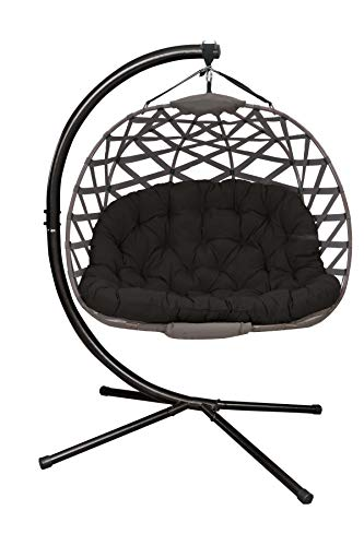 Flower House Hanging Cross-Weave loveseat, Sand Cover/Black