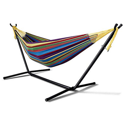 Iron Frame Wide Solid Hammock with Space Saving Steel Stand