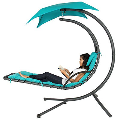 Outdoor Hanging Curved Chaise Lounge Swing Chair: Teal