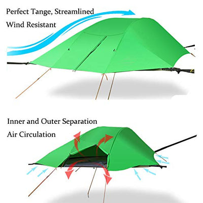 WintMing Suspended Tree House Tent 2 Person Camping Hammock with Mosquito net and rain Fly