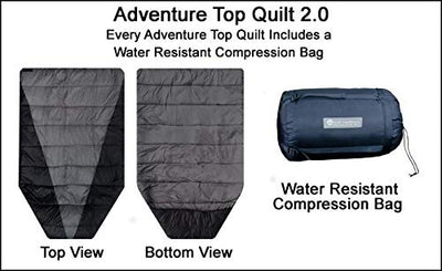 Go Outfitters Adventure Top Quilt, The Sleeping Un-Bag and Hammock Camping Top Quilt (Black/Gray)