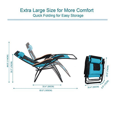 Oversize XL Padded Zero Gravity Lounge Chair Wide Armrest