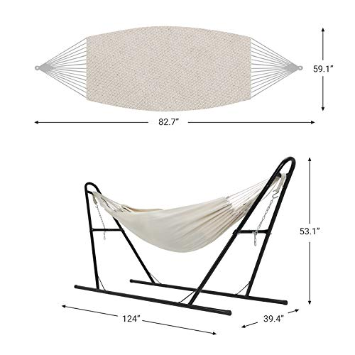 SONGMICS Double Hammock with Stand, 82.7 x 59.1 Inches, Sturdy Double-Rail Iron Frame with Extended Feet, Max. Load 550 lb, for Garden, Outdoor, Beige UGHS11BE