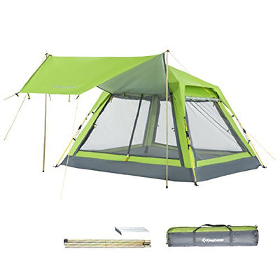KingCamp 3-4 Person Camping Mesh Tent Screen Room, Quick-Up Sun Shelter Tents with Rain Fly