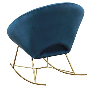 Modern Velvet Upholstered Rocking Papasan Chair with Gold Base, Small, Navy