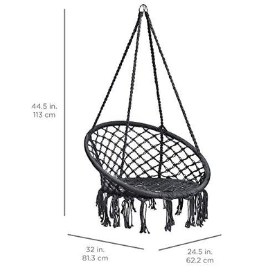Hanging Cotton Macrame Rope Hammock Lounge Swing Chair: Black