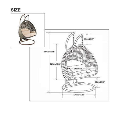 Island Gale Luxury 2 Person Outdoor, Patio, Hanging Wicker Swing Chair (X-Large, Charcoal Rattan/Latte Cushion)