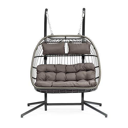 Luxury 2 Person Wicker Swing Chair Rattan Double Hanging Egg Chair with Stand