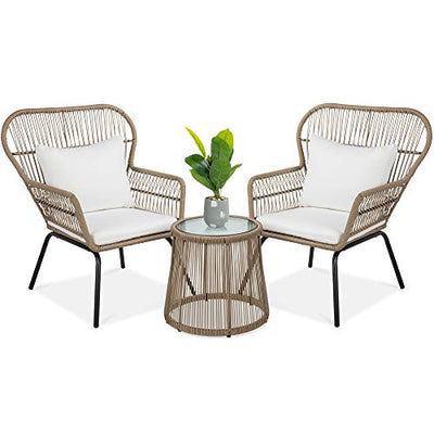 Best Choice Products 3-Piece Patio Wicker Conversation Bistro Set w/ 2 Chairs