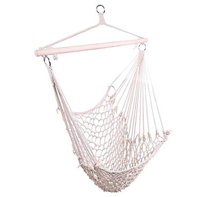 Rope Hammock Swing Chair with Sturdy Wood Bar