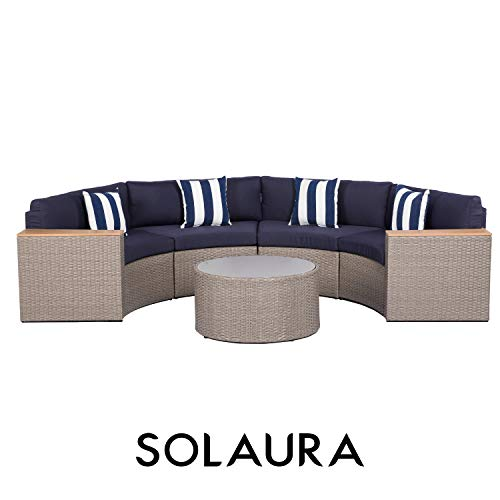SOLAURA Outdoor 5-Piece Sectional Furniture Patio Half-Moon Set