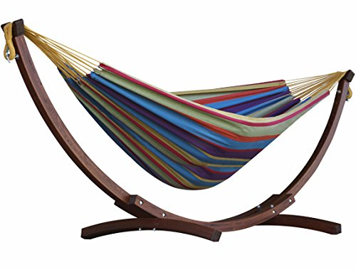 Vivere Double Cotton Hammock With Solid Pine Stand Combo