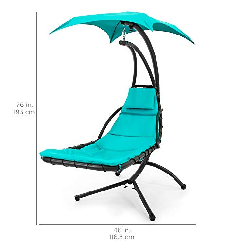 Outdoor Hanging Curved Chaise Lounge Swing Chair Teal Hammock Town