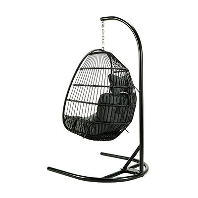 Rattan Wicker Hanging Foldable Swing Chair with Stand