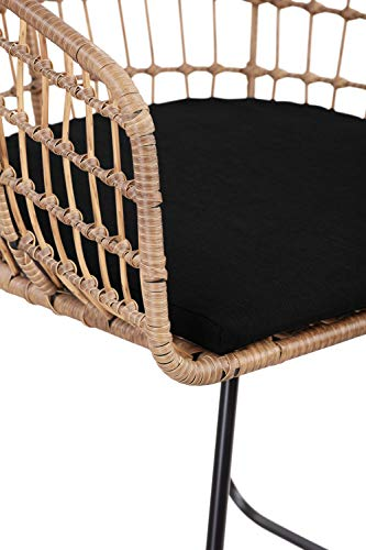 Tommy Hilfiger Rattan Lounge Dining Chair, Black