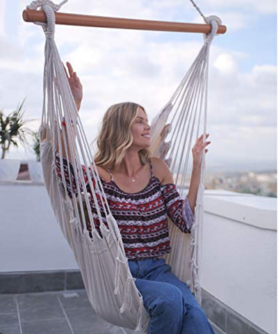 despatio Hanging Hammock Chair Swing – Boho Rope Hanging Chair – Indoor/Outdoor Hammock Swing Chair for Adults, Teens, Kids + 2 Seat Cushions & Hook & Strap – Addition to Patio, Porch, Bedroom, Room