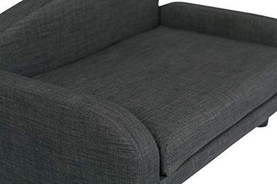 Deep Low Back Lounging Pet Sofa with Removable Mattress: Gray