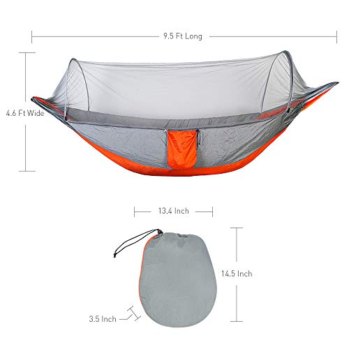 Lay Flat Camping Hammock with Mosquito Net & Tree Straps