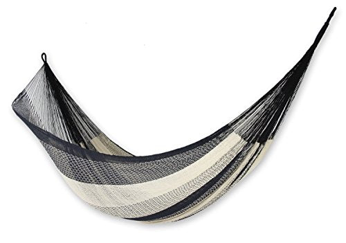 NOVICA Beige and Black Cotton Mayan Hammock 'Midnight Riviera' (Double)