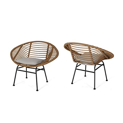 Christopher Knight Home Aleah Indoor Woven Faux Rattan Chairs with Cushions (Set of 2), Light Brown and Beige Finish