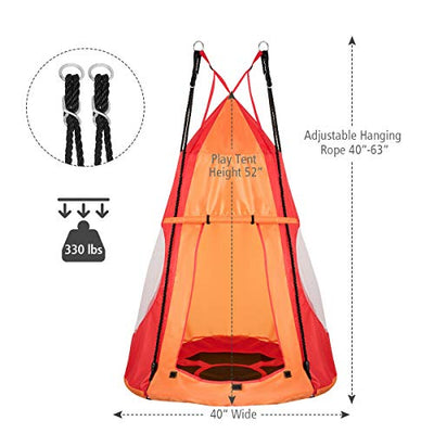 Costzon 2 in 1 Kids Detachable Hanging Chair Swing Tent Set, Hammock Nest Pod Hanging Swing Seat for Boys/Girls, Children Outdoor Indoor Swing Play House with Play Tent, Max Capacity 330 LBS (Orange)